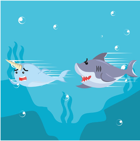 chased: narwhal chased by shark Illustration