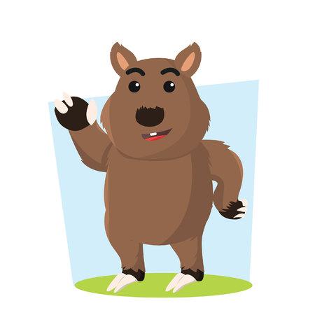 wombat carácter ilustración vectorial de diseño Vectores