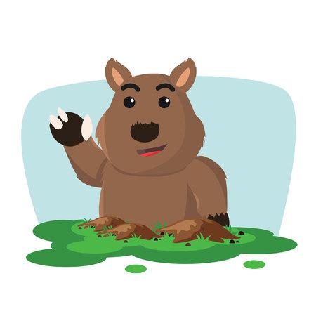 wombat: wombat outfrom planta ilustración vectorial de diseño