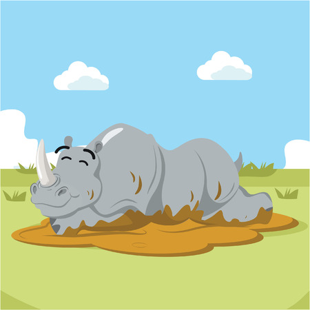 wallowing: rhino wallowing vector illustration design