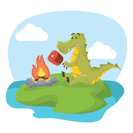 crocodile roasting meat vector illustration design Illustration