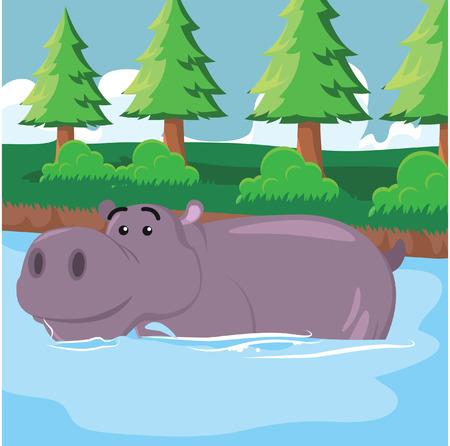 hippo weken vectorillustratieontwerp