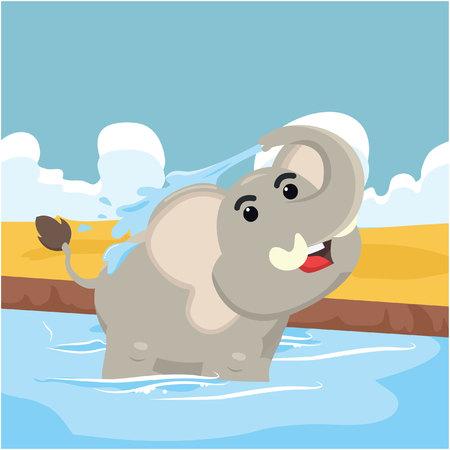 taking bath: elephant taking bath vector illustration design Illustration