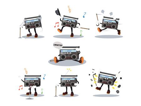 old radio: old radio cartoon set