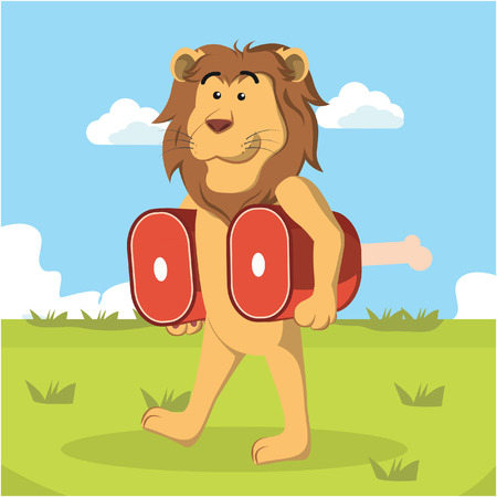 meats: lion carrying meats vector illustration design