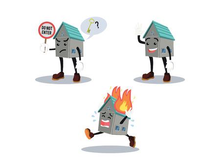 house cartoon set vector illustration design Illustration