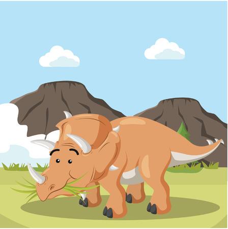 triceratops: triceratops eating grass vector illustration design Illustration