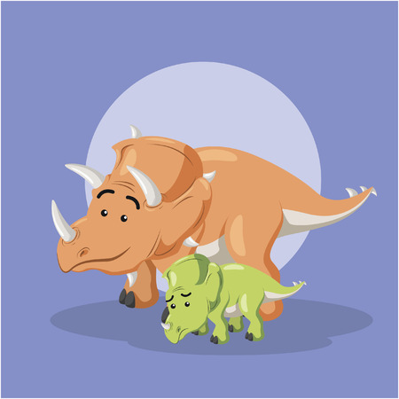 triceratops: triceratops and its son Illustration