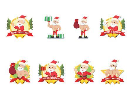 santa cartoon set illustration design Illustration