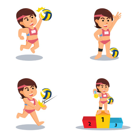 girl volleyball cartoon set