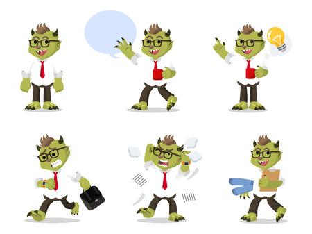 hurried: monster office set illustration design Illustration