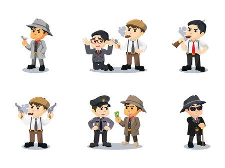 mafia cartoon set vector illustration design