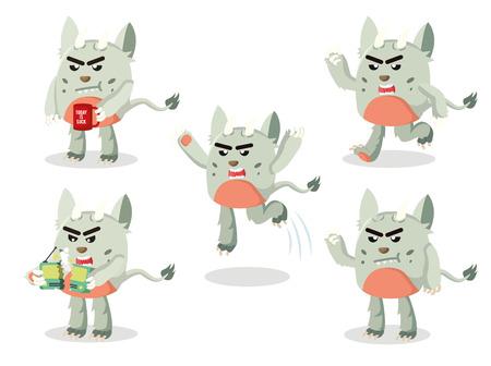 grumpy: grumpy monster set illustration design