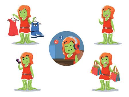 choosing clothes: female monster cartoon set