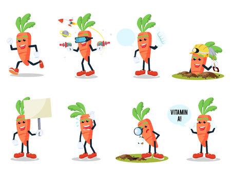 Wortel cartoon set illustratie ontwerp