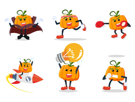 pumpkin cartoon set illustration design Illustration