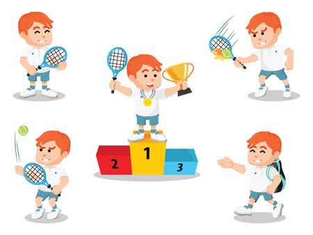 quickness: tennis player set illustration design