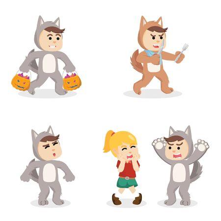 werewolf cartoon set illustration design