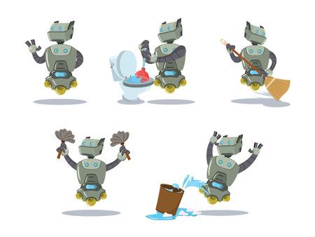 Reinigungsroboter Karikatur-Set Vektorgrafik