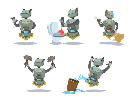 cleaning robot cartoon set