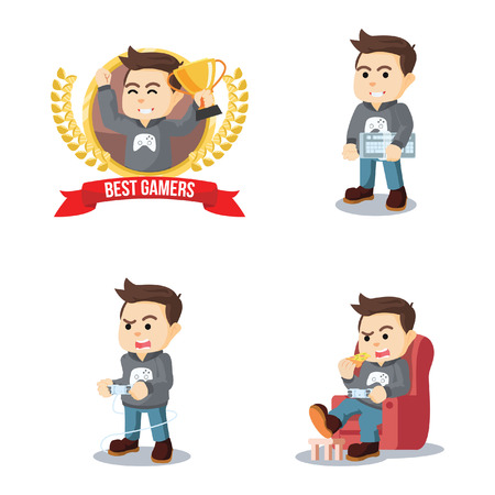 gamers cartoon set illustration design