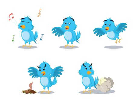 blue bird cartoon set illustration design Illustration