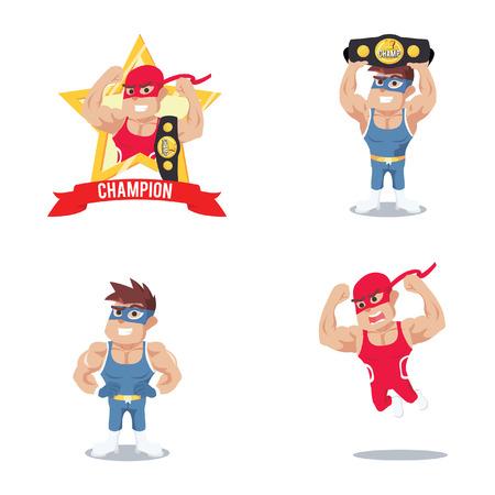 wrestlers: wrestler cartoon set illustration design