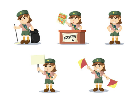 child holding sign: scout girl cartoon set
