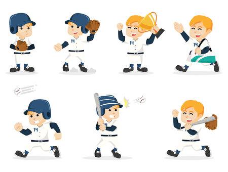 animated boy: baseball player set illustration design