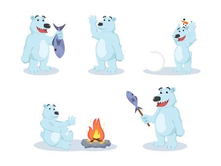 fire and ice: polar bear cartoon set illustration design