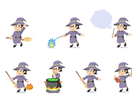 witch cartoon set illustration design Illustration