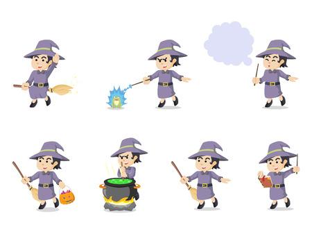 whitch: witch cartoon set illustration design Illustration