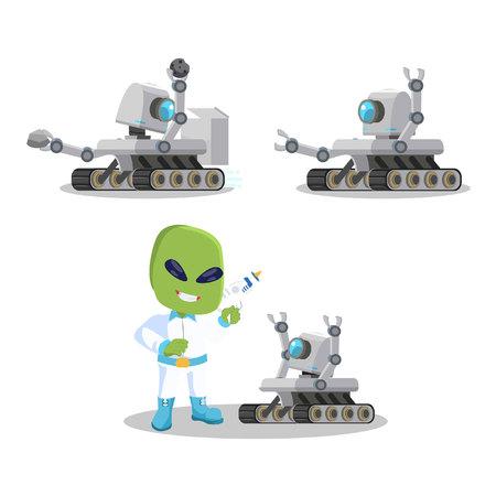 discoverer: mars roveer robot illustration design