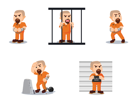 convict cartoon set vector illustration design