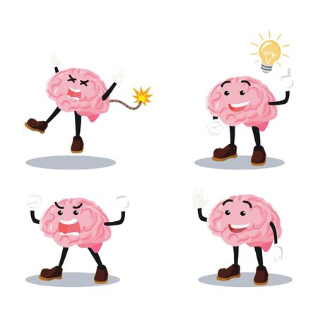 brain cartoon set illustration design
