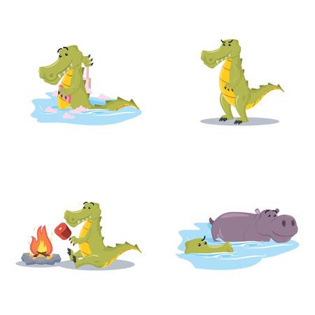 crocodile cartoon set illustration design