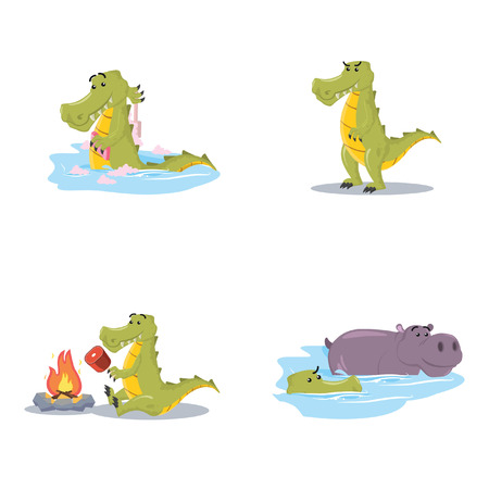 krokodil cartoon set illustratie ontwerp Stock Illustratie