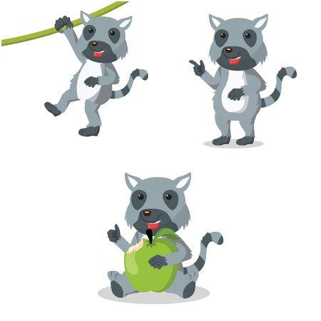bough: lemur cartoon set illustration design Illustration