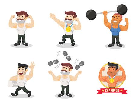 levantar peso: cuerpo constructor establece la ilustración de diseño