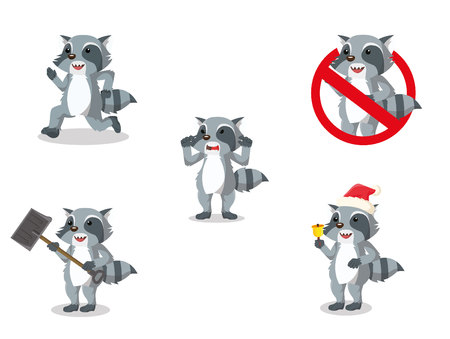 racoon cartoon set illustration design