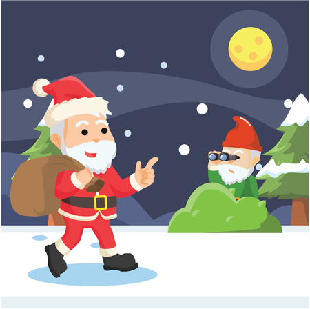 gnome seeing santa with binocular