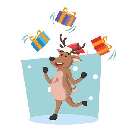 white tail deer: deer juggling christmas box