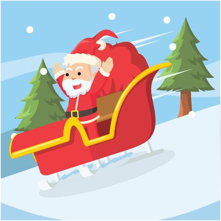 santa sliding with sleigh