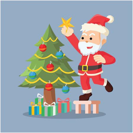 decorating: santa decorating christmas tree