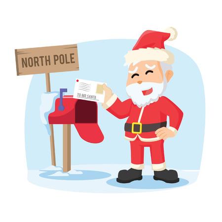 receiving: santa receiving letter illustration design Illustration