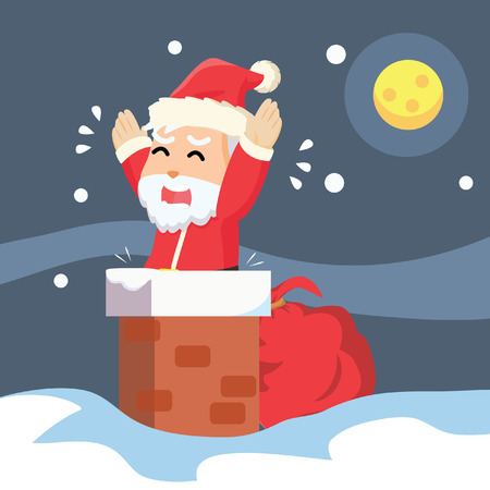 hysteria: santa stuck in chimney Illustration