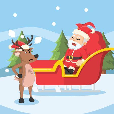 cranky: santa sleeping on his sleigh