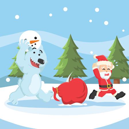 santa chased by polar bear