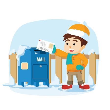 sending: boy sending letter to santa Illustration