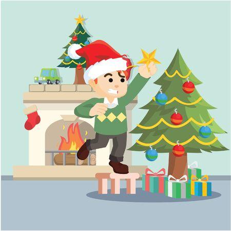 decorating: boy decorating christmas tree Illustration